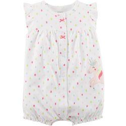 Carters Baby Girls Polka Dot Unicorn Romper