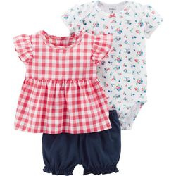 Carters Baby Girls 3-pc. Plaid Floral Layette Set