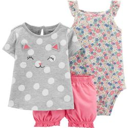 Carters Baby Girls 3-pc. Kitty Cat Floral Dot Layette Set