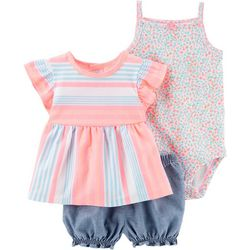 Carters Baby Girls 3-pc. Striped Floral Layette Set