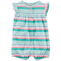 Carters Baby Girls Stripe Crab Snap-Up Romper