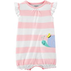 Carters Baby Girls Striped Snail Romper
