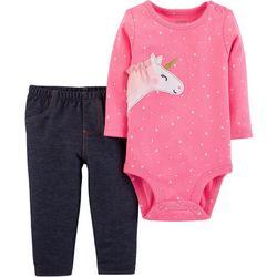 Carters Baby Girls Unicorn Dot Bodysuit Set