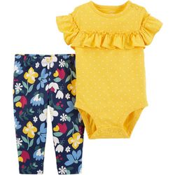 Carters Baby Girls Floral Dotted Bodysuit Set