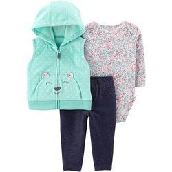 Carters Baby Girls 3-pc. Floral Bear Vest Bodysuit Set