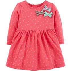 Carters Baby Girls Petal Print Bow Dress