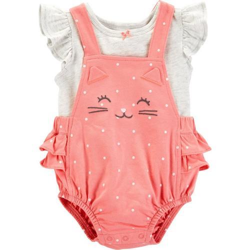 Carters Baby Girls Polka Dot Cat Bubble Romper Set