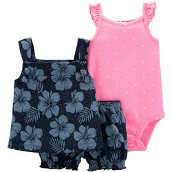 Carters Baby Girls 3-pc. Tropical Floral Dot Layette Set
