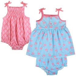 Baby Essentials Baby Girls 3-pc. Flamingo Layette Set