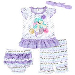 Baby Essentials Baby Girls 4-pc. Mermaid Ruffle Shorts Set