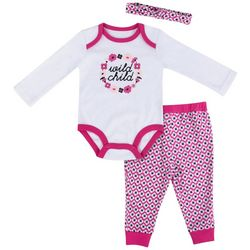 Baby Essentials Baby Girls 3-pc. Wild Child Layette Set
