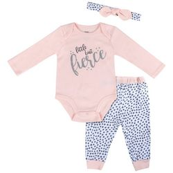 Baby Essentials Baby Girls 3-pc. Little Fierce Layette Set