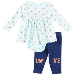 Weeplay Baby Girls Butterfly Love Peplum Bodysuit Set