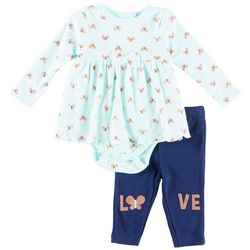 Weeplay Baby Girls Butterfly Love Peplum Bodysuit Set