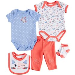 Weeplay Baby Girls 5-pc. Happy Kitties Layette Set