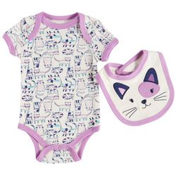 Weeplay Baby Girls Happy Kitties Bodysuit & Bib Set