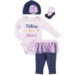 Weeplay Baby Girls 4-pc. Follow Your Heart Tutu Layette Set