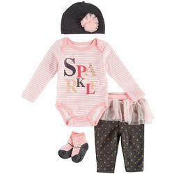 Weeplay Baby Girls 4-pc. Sparkle Stripe Tutu Layette Set