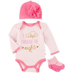 Weeplay Baby Girls 3-pc. Slept Through The Night Layette Set
