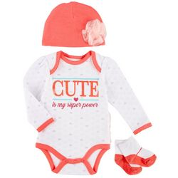 Weeplay Baby Girls 3-pc. Cute Is My Super Power Layette Set