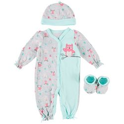Weeplay Baby Girls 3-pc. Owl Print Jumpsuit Layette Set