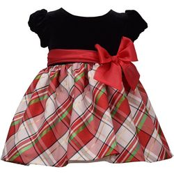 Bonnie Jean Baby Girls Plaid Bow Short Sleeve Dress