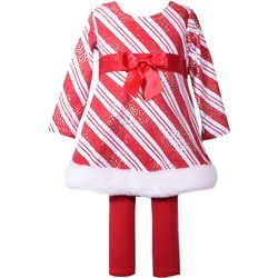 Bonnie Jean Baby Girls Striped Santa Top Leggings