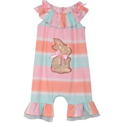Bonnie Jean Baby Girls Stripe Sequined Bunny Romper