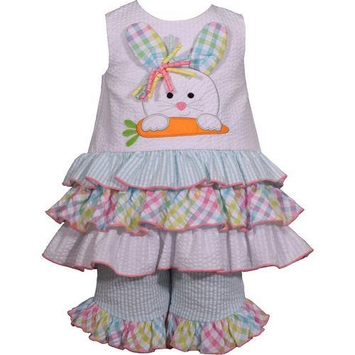 bd82d03059db Bonnie Jean Baby Girls Bunny Plaid Ruffle Pants Set