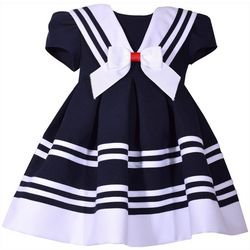 Bonnie Jean Baby Girls Stripe Print Nautical Dress