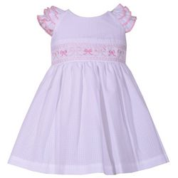 Bonnie Jean Baby Girls Gingham Bow Embroidered Dress