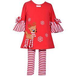 Bonnie Jean Baby Girls Reindeer Stripe Leggings Set