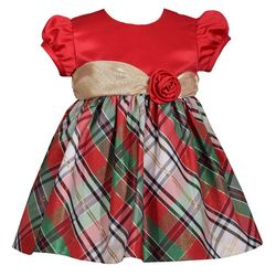 Bonnie Jean Baby Girls Plaid Shimmer Dress