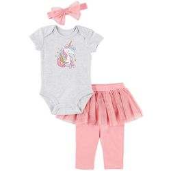Petit Lem Baby Girls 3-pc. Unicorn Tutu Layette Set