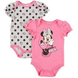 Disney Minnie Mouse Baby Girls 2-pk. Peek A Bow Bodysuits