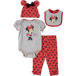 Disney Minnie Mouse Baby Girls 4-pc. Polka Dot Bodysuit Set