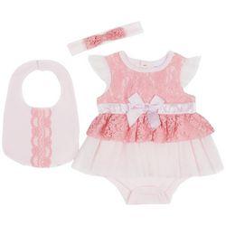 Nicole Miller New York Baby Girls 3-pc. Lace Bodysuit Set