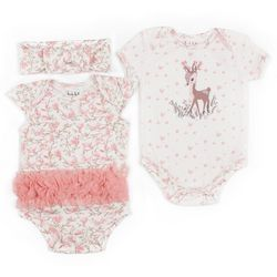 Nicole Miller New York Baby Girls 3-pc. Deer Bodysuit Set