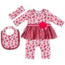 Nicole Miller New York Baby Girls 3-pc. Floral Coverall Set