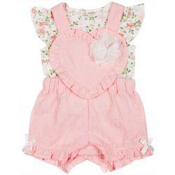 Little Lass Baby Girls Heart Shortalls