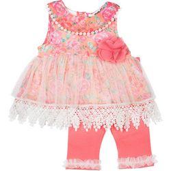 Little Lass Baby Girls Floral Chiffon Leggings Set