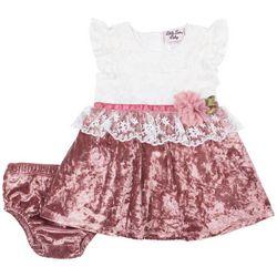 Little Lass Baby Girls Velvet Lace Dress