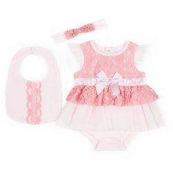 Nicole Miller New York Baby Girls 3-pc. Lace Bodysuit Set