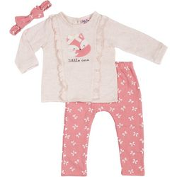 Little Lass Baby Girls Little One Bow Leggings Set