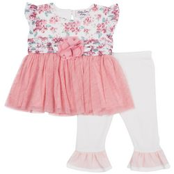 Little Lass Baby Girls Floral Print Ruffle Leggings Set