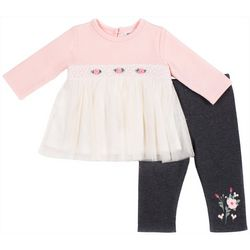 Little Lass Baby Girls Floral Embroidered Leggings Set