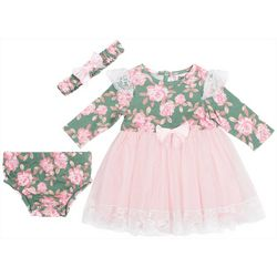 Little Lass Baby Girls 3-pc. Floral Lace Long Sleeve Dress