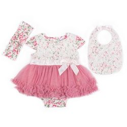 Nicole Miller New York Baby Girls 3-pc. Lace Bow Layette Set