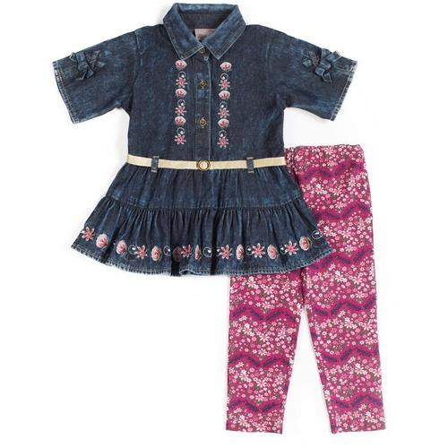 8f9832f27199 Little Lass Baby Girls Floral Chambray Leggings Set