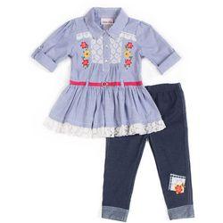 Little Lass Baby Girls Striped Floral Leggings Set